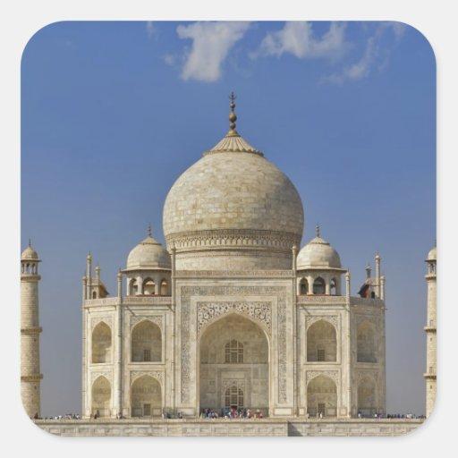 Mausoleo del Taj Mahal/Agra, la India Pegatina Cuadrada