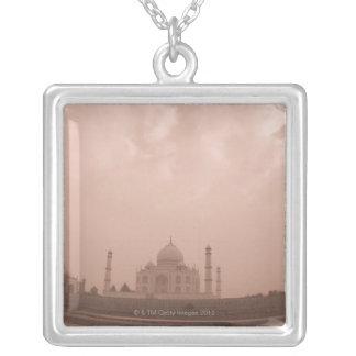 'Mausoleum at the riverside, Taj Mahal, Agra, 2 Square Pendant Necklace