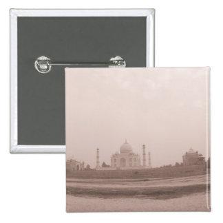 'Mausoleum at the riverside, Taj Mahal, Agra, 2 Inch Square Button