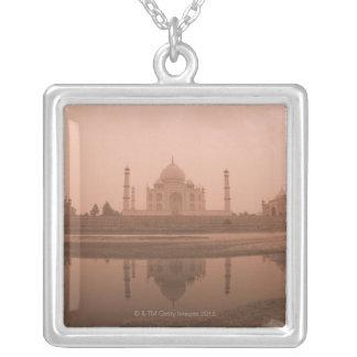 Mausoleum at the riverside, Taj Mahal, Agra Square Pendant Necklace