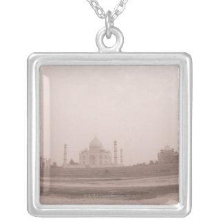'Mausoleum at the riverside, Taj Mahal, Agra, Square Pendant Necklace