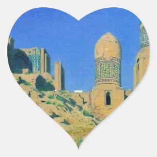 Mausoleum of Shah-i-Zinda in Samarkand by Vasily Heart Sticker