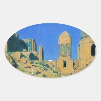 Mausoleum of Shah-i-Zinda in Samarkand by Vasily Oval Sticker