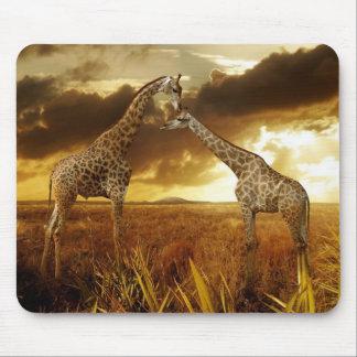Mauspad jirafas puestas de sol alfombrilla de ratones