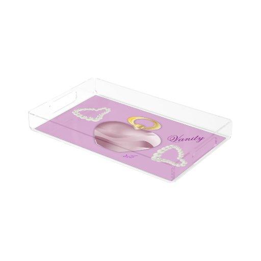 Mauve Acrylic Perfume Pearls Vanity Tray Rectangle
