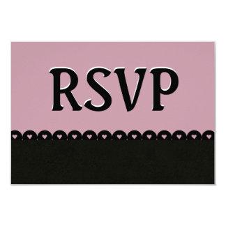 Mauve and Black RSVP Hearts Scalloped Lace V03 Card