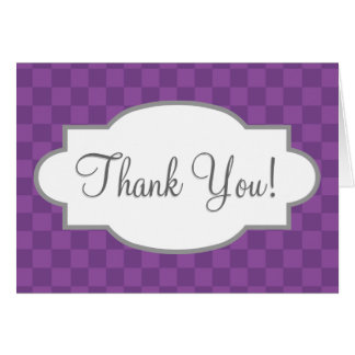 Mauve and Dark Violet Purple Checkered Squares Stationery Note Card