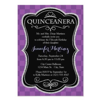 "Mauve and Dark Violet Purple Checkered Squares 4.5"" X 6.25"" Invitation Card"