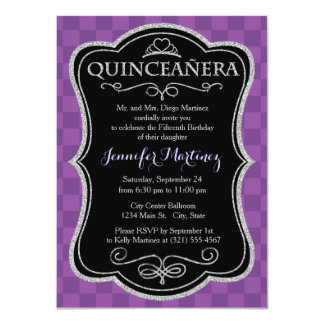 Mauve and Dark Violet Purple Checkered Squares 4.5x6.25 Paper Invitation Card