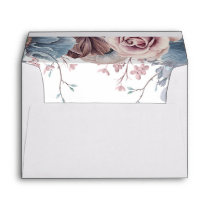 Mauve and Dusty Blue Flowers Elegant Envelope