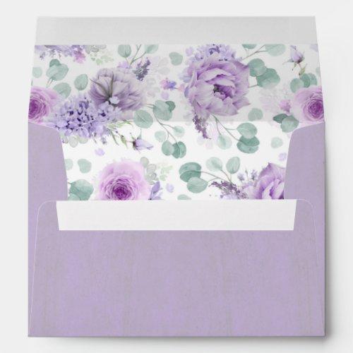 Mauve and Dusty Purple Flowers Elegant Watercolor Envelope