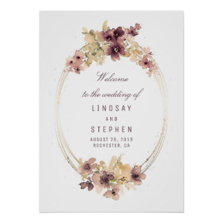 Mauve and Gold Vintage Wedding Welcome Sign