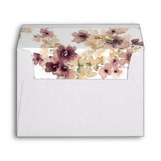 Mauve and Gold Watercolor Flowers Envelope