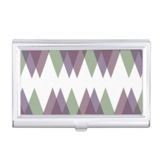 Mauve and green triangles business card case