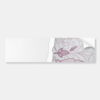 mauve and grey flower line art design bumper sticker