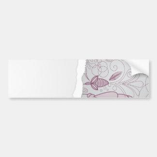 mauve and grey flower line art design car bumper sticker