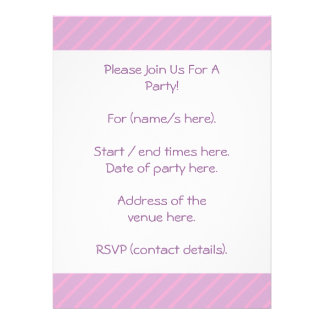 Mauve and Pink Diagonal Striped Pattern Personalized Invitation