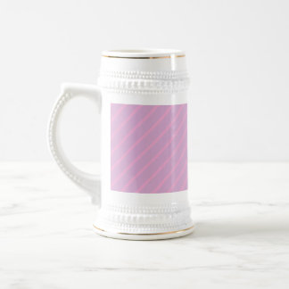 Mauve and Pink Diagonal Striped Pattern. 18 Oz Beer Stein