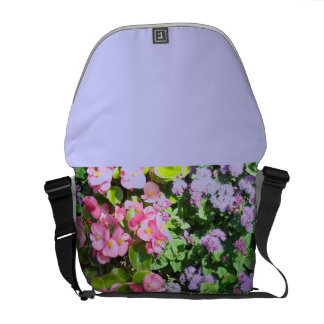 Mauve and Pink Floral Courier Bag