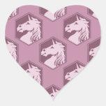 Mauve and Rose Pink Unicorn Array Heart Sticker