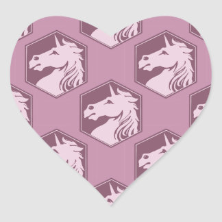 Mauve and Rose Pink Unicorn Array Heart Sticker