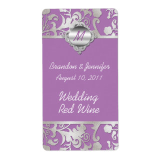 Mauve and Silver Tone Wedding Mini Wine Labels