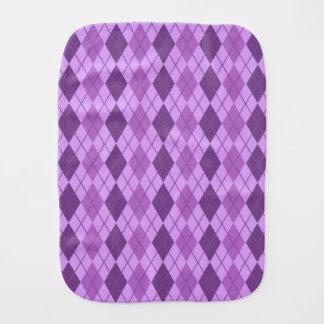 Mauve and Violet Purple Vintage Argyle look Burp Cloth