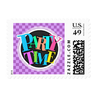 Mauve and Violet Purple Vintage Checkered Squares Stamp