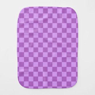 Mauve and Violet Purple Vintage Checkered Squares Baby Burp Cloths