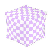 Mauve and White Checkered Pouf