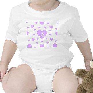 Mauve and White Hearts Monogram Bodysuit