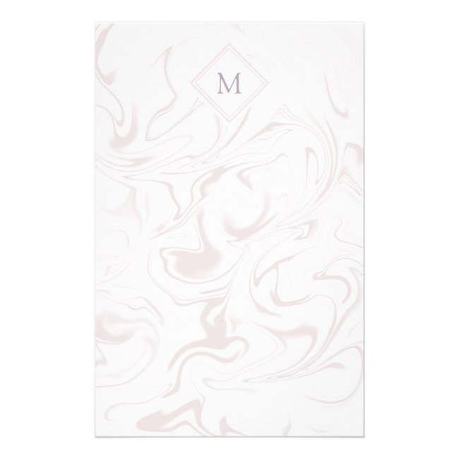 Mauve and White Marble look with Diamond Monogram