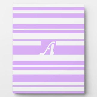 Mauve and White Random Stripes Monogram Photo Plaque