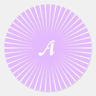 Mauve and White Sunrays Monogram Round Stickers