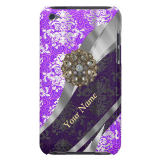 Mauve and white vintage damask pattern Case-Mate iPod touch case
