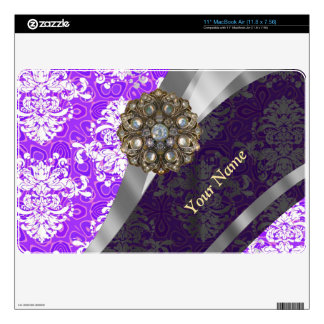 Mauve and white vintage damask pattern decals for MacBook air