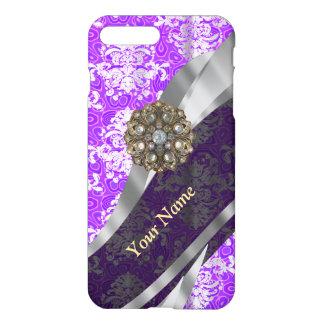 Mauve and white vintage damask pattern iPhone 7 plus case