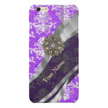 Mauve and white vintage damask pattern glossy iPhone 6 plus case