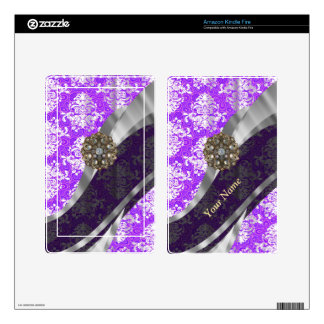 Mauve and white vintage damask pattern skin for kindle fire