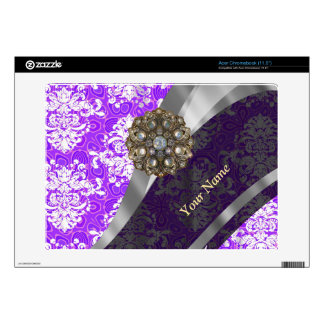 Mauve and white vintage damask pattern skins for acer chromebook