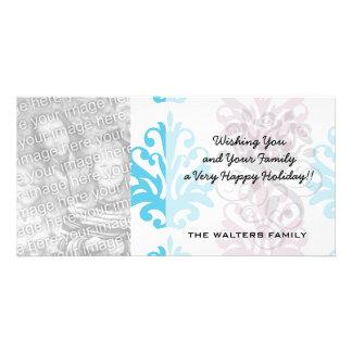 mauve aqua blue white damask personalized photo card