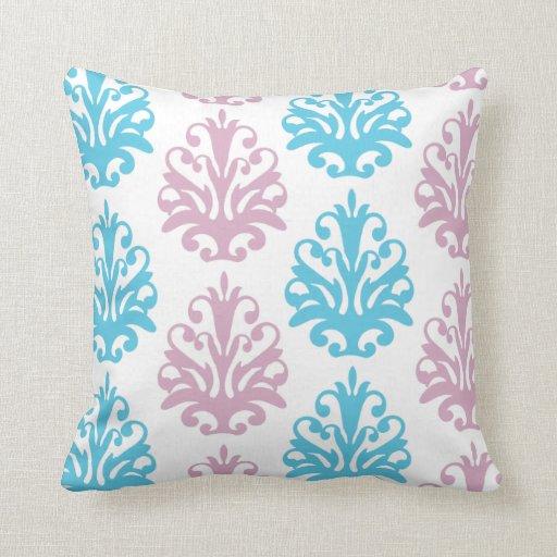 mauve aqua blue white damask throw pillow
