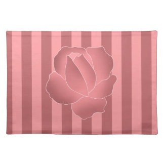 Mauve art rose on pink stripes placemat
