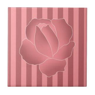 Mauve art rose on pink stripes tile