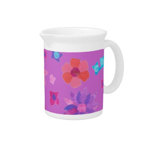 Mauve Background Flower-Power Pitcher or Jug