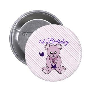 Mauve Bears 1st Birthday Button