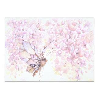 Mauve Blossom & Butterfly Invitation