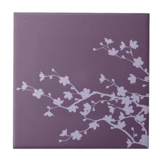 Mauve Blossoms Small Square Tile