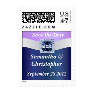 Mauve & blue any occasion save the date postage stamp