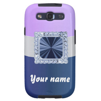 Mauve & blue customizable text samsung galaxy SIII cases